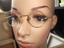 ANTIQUE SPECTACLES RIMLESS - GOLD TONE UNTESTED - SPRINGY HOOK ARMS + OLD CASE